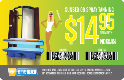 SUNBED OR SPRAY TANNING ONLY 14.95/MO