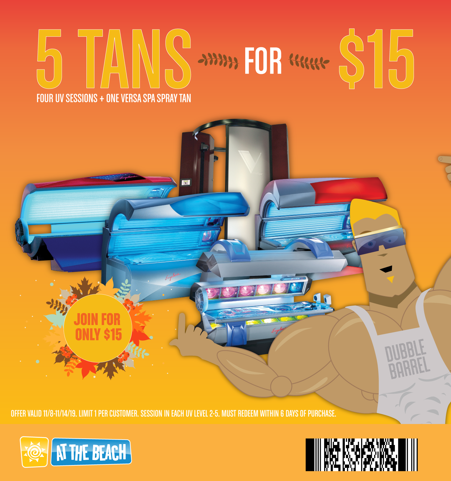 5 Tans for $15! - A single tan in bed levels 2-5 + one VersaSpa spray tan!