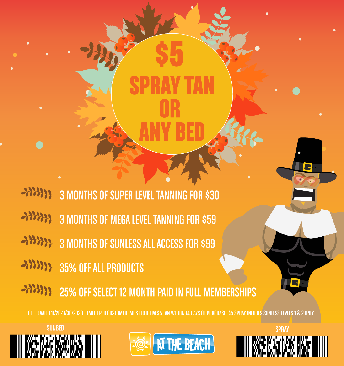$5 Any Sunbed or Spray and Early Black Friday Specials!