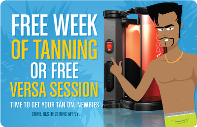 FREE WEEK OR FREE VERSA FOR NEWBIES - Free week of sunbed tanning or Free sunless session.